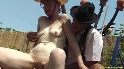 fucking   german   granny   hairy pussy   outdoor