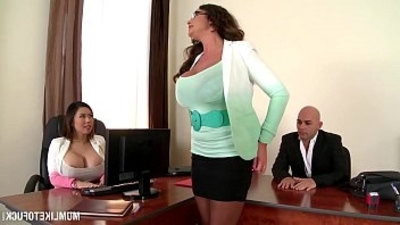 busty girls   butt   mom   office   threesome